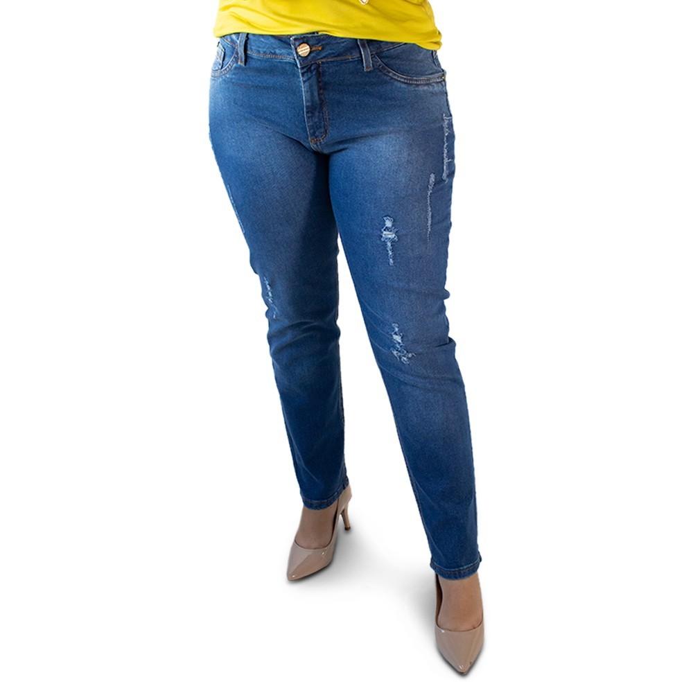 Calça Feminina Jeans Cigarrete Plus Size Elastano Anticorpus