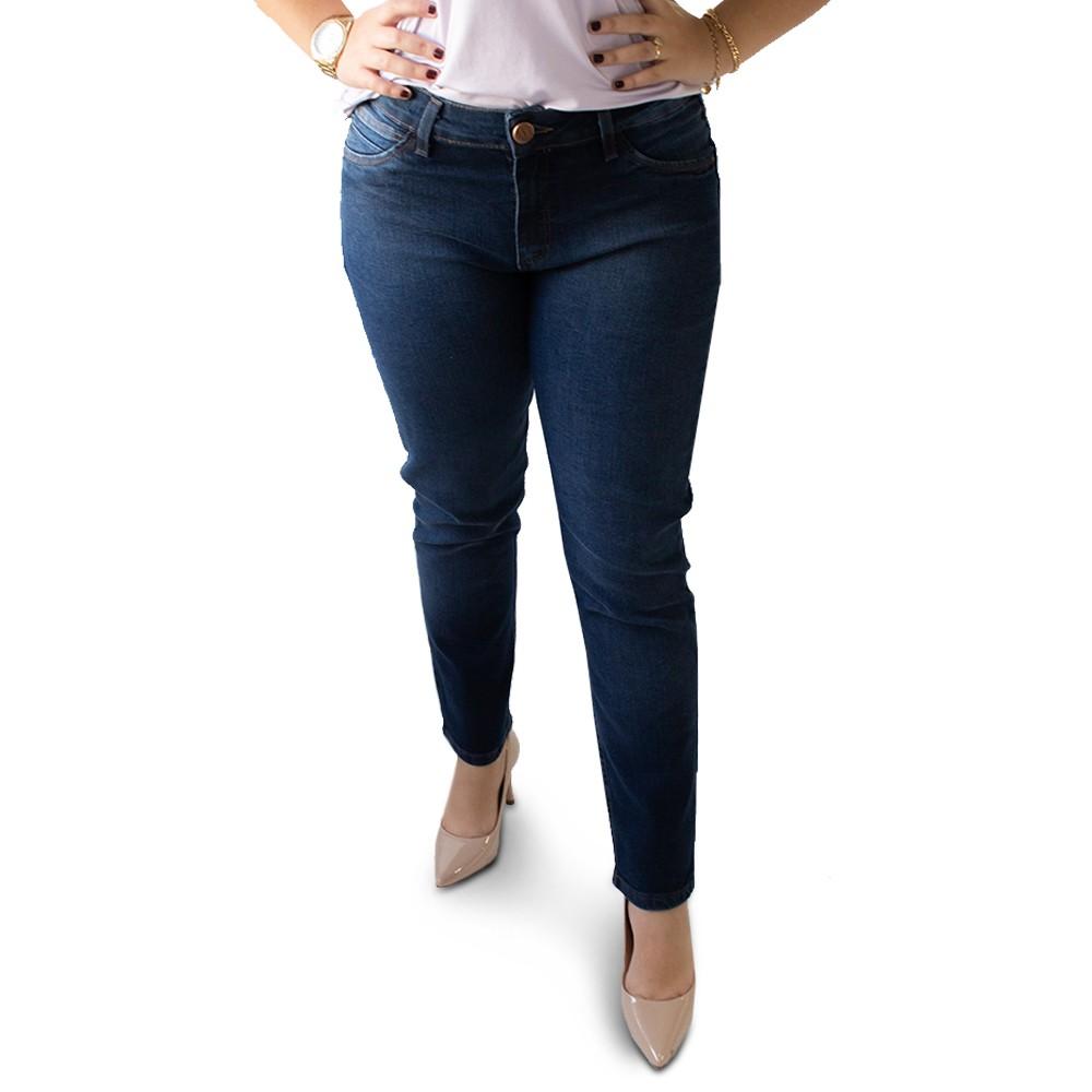 Calça Feminina Jeans Escuro Cigarrete Plus Size Anticorpus