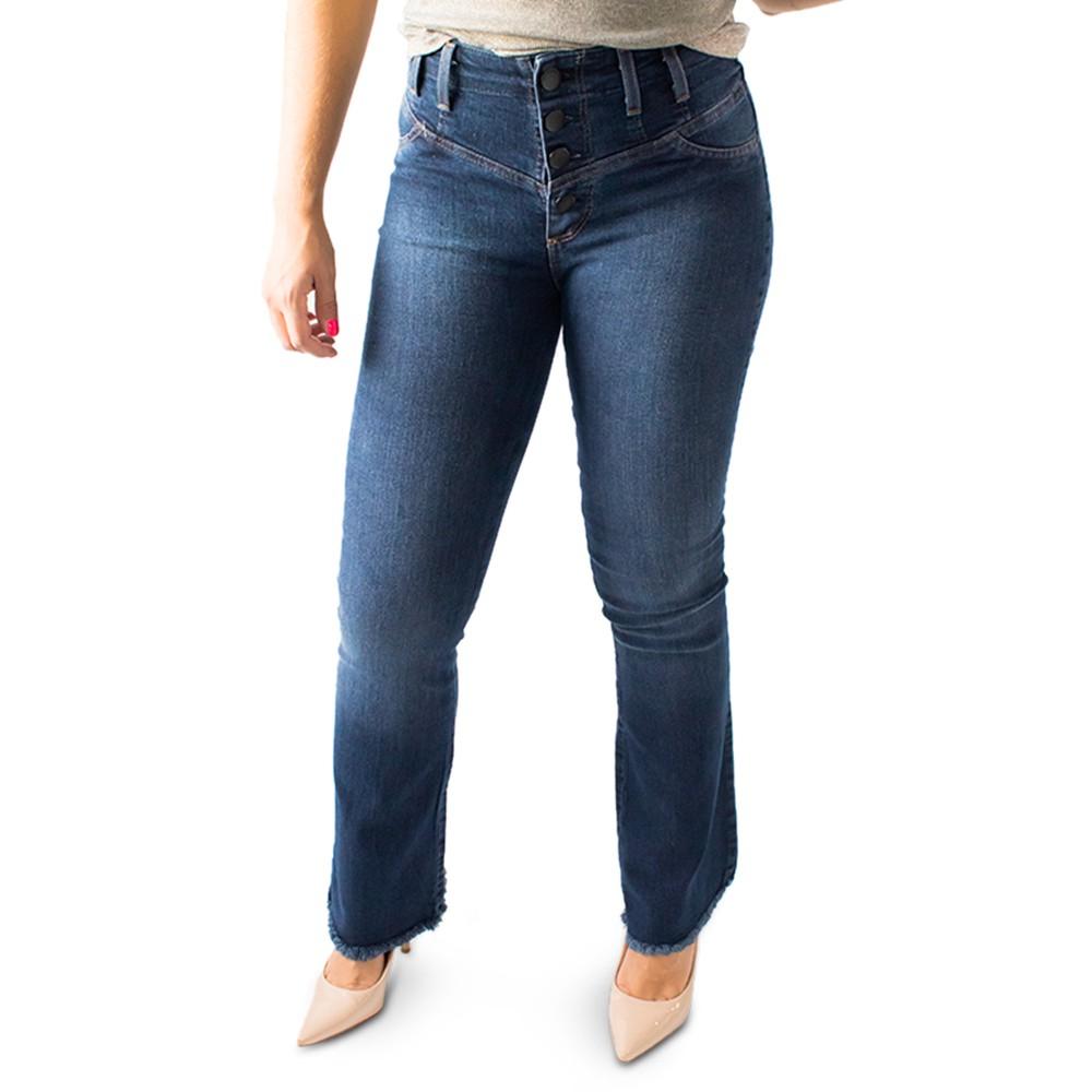 Calça Flare Jeans Feminina Alta Botões Barra Desfiada Anticorpus