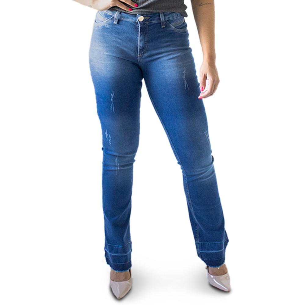 Calça Flare Jeans Feminina Cintura Alta Puídos Anticorpus