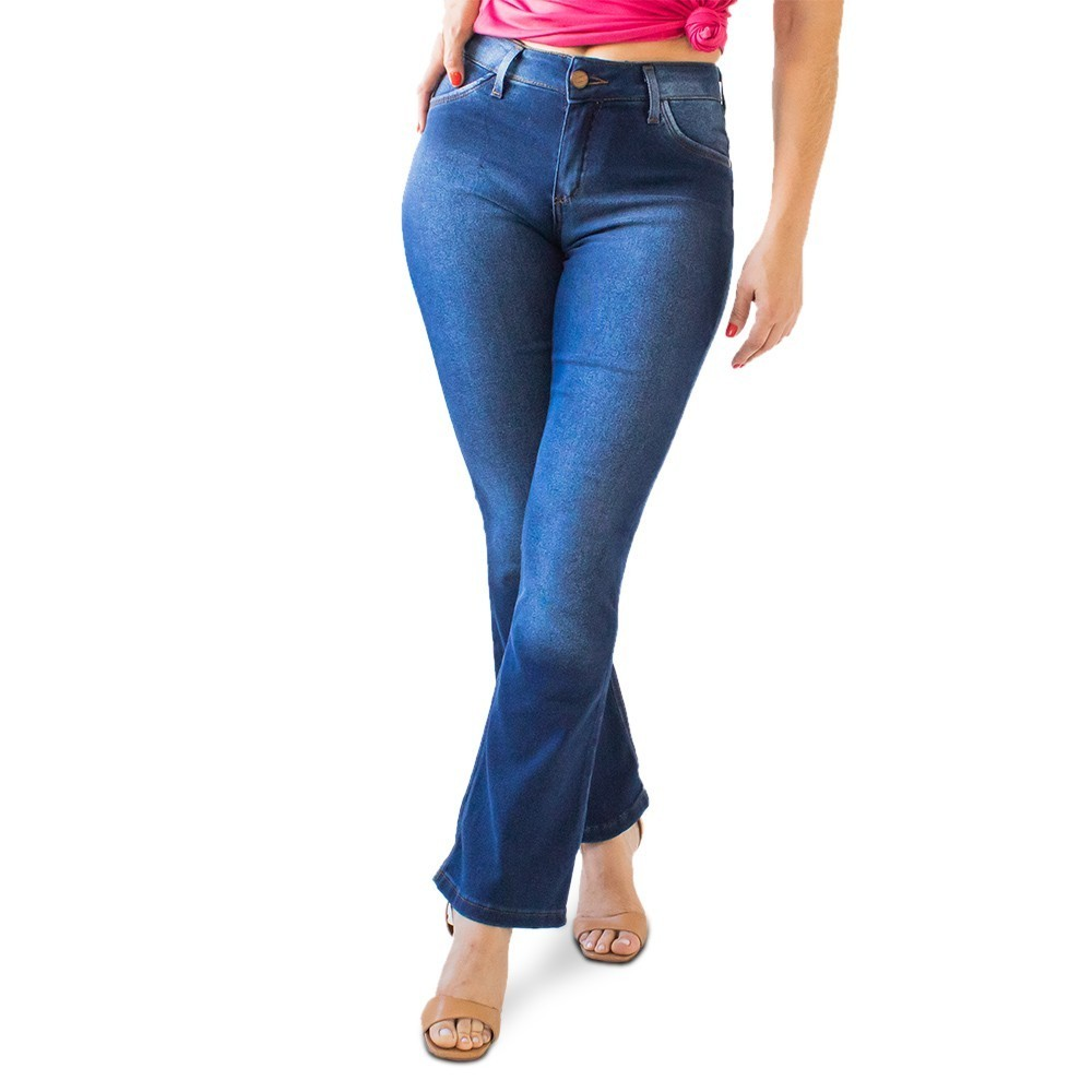Calça Flare Petit Feminina Jeans Escuro Media Anticorpus