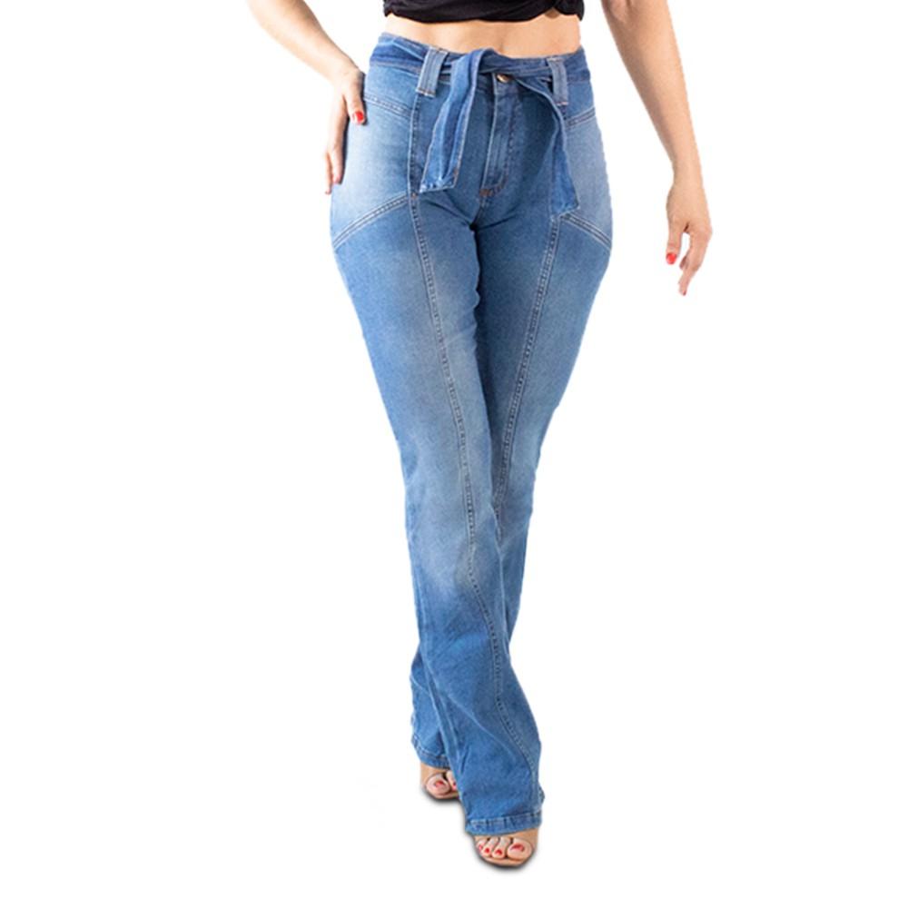 Calça Jeans Boot Cut Feminina Cintura Alta Com Cinto Anticorpus
