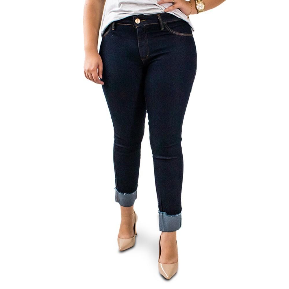 Calça Jeans Cropped Cintura Alta Barra Dobrada Anticorpus