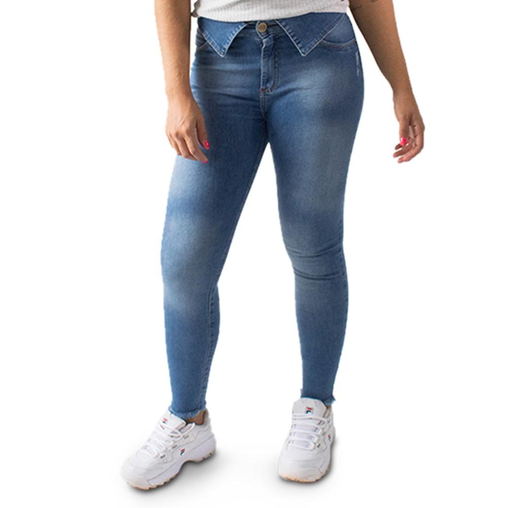 Calça Jeans Feminina Cropped Cintura Alta Cós Dobrado Anticorpus