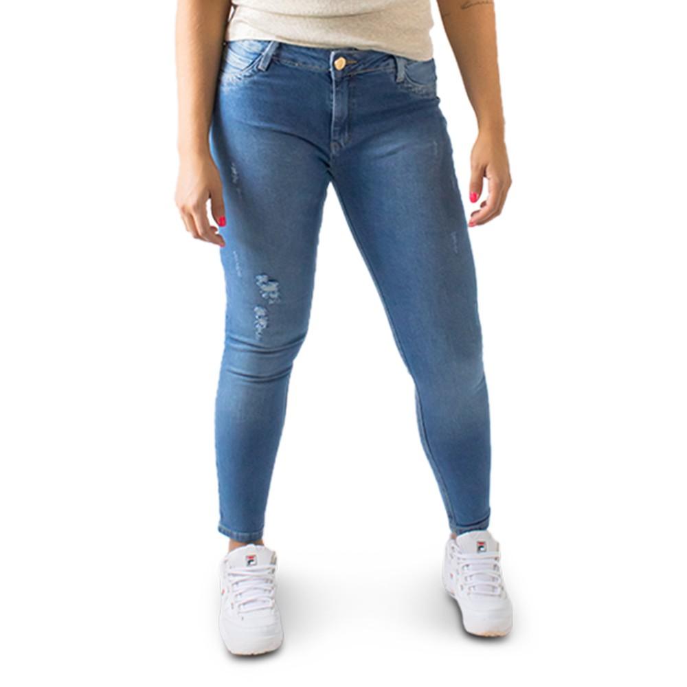 Calça Jeans Feminina Cropped Puídos Cintura Média Anticorpus