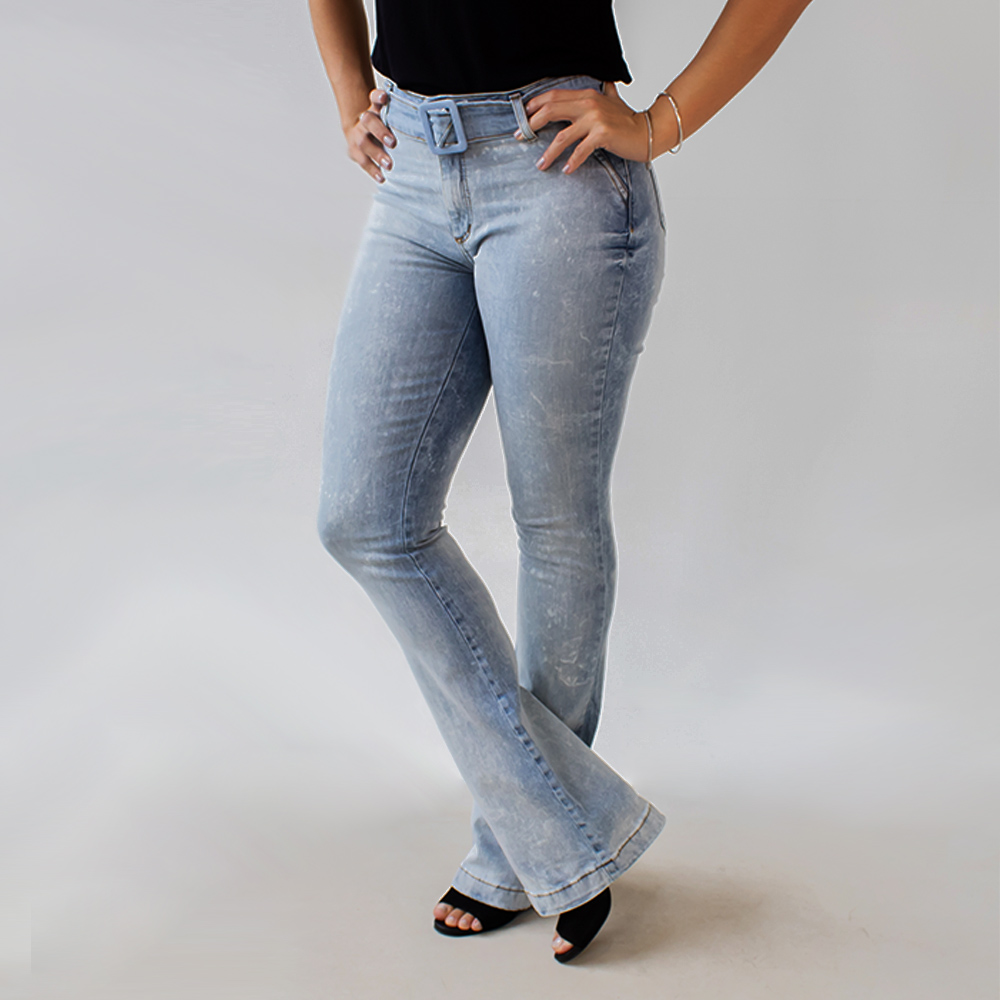 Calça Jeans Feminina Flare Alta Marmorizada Anticorpus