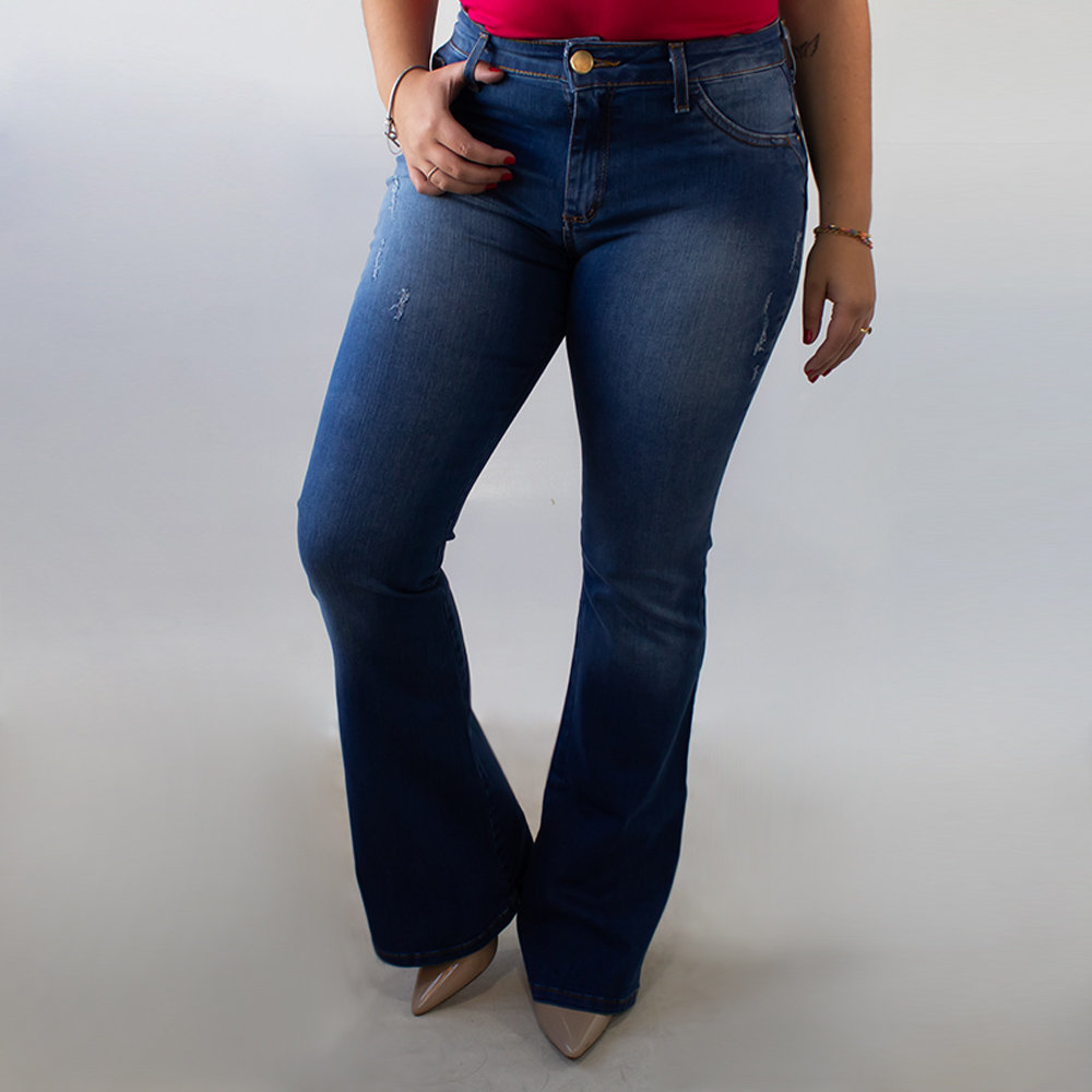 Calça Jeans Feminina Flare Alta Puídos Anticorpus