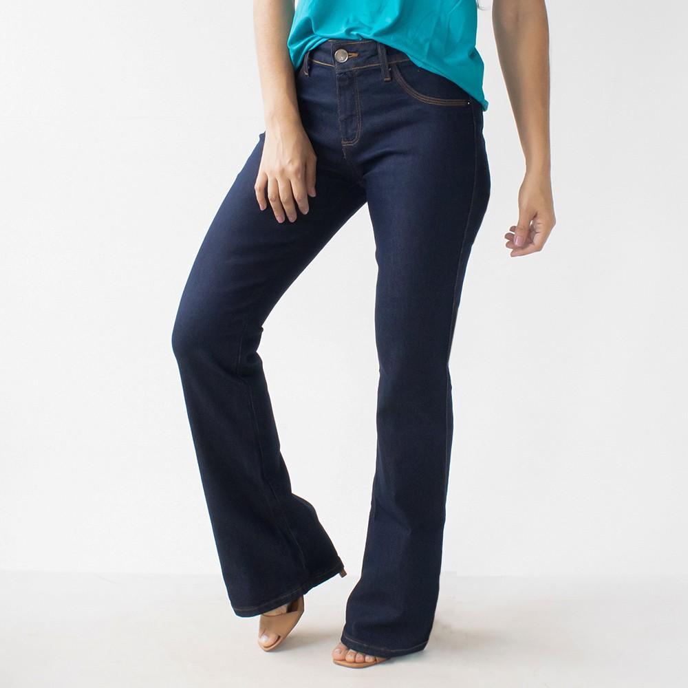 Calça Jeans Flare Feminina Cintura Média Elastano Anticorpus