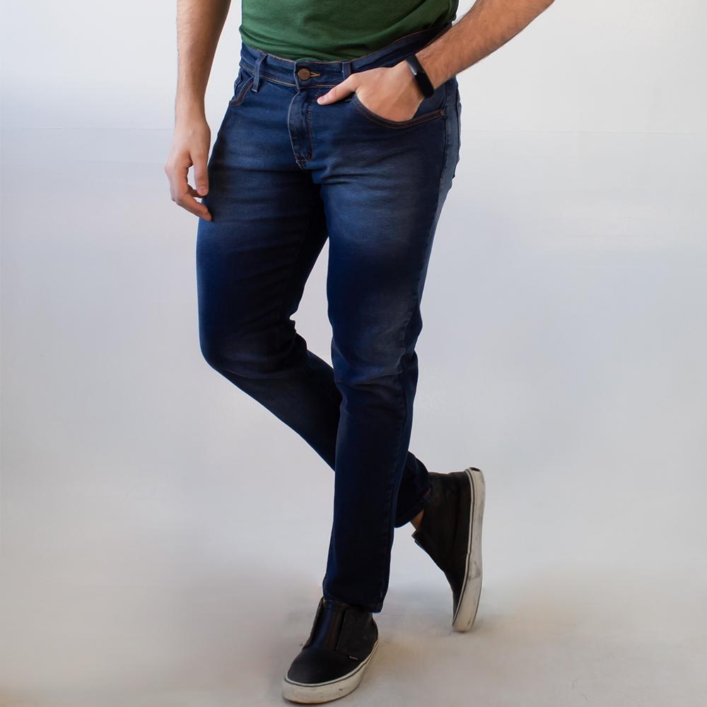 Calça Jeans Masculina Skinny Azul Escuro Elastano Anticorpus