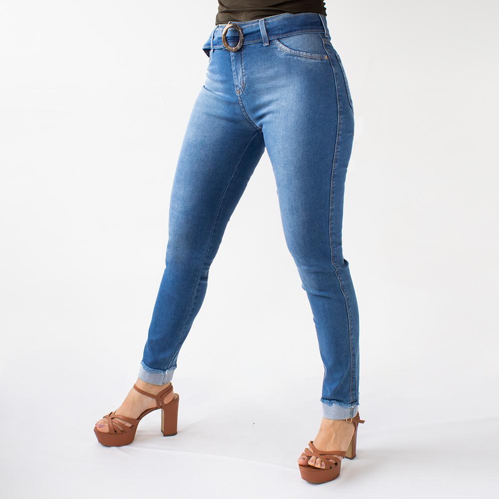 Calça Jeans Skinny Feminina Alta Barra Dobrada Anticorpus