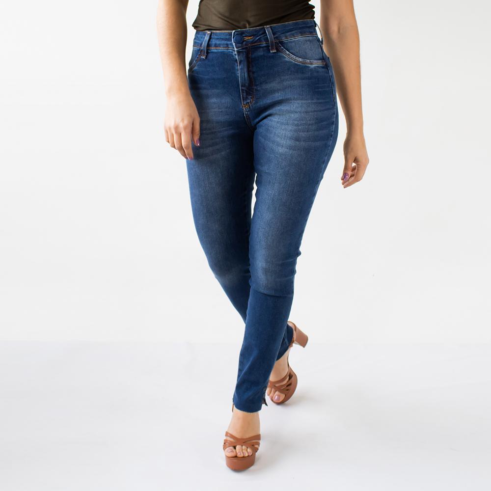 Calça Jeans Skinny Feminina Barra Desfiada Botão Anticorpus