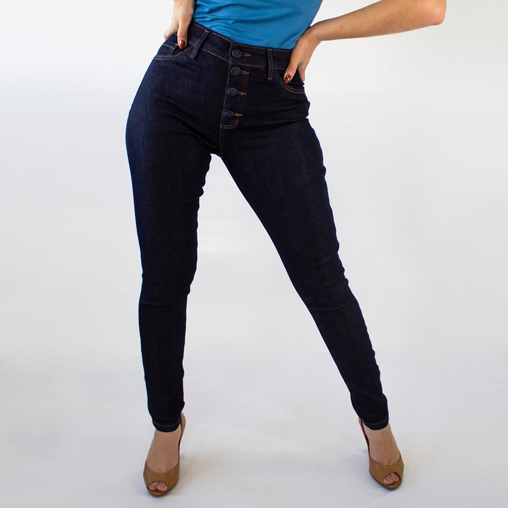 Calça Jeans Skinny Feminina Escura Alta Botão Anticorpus