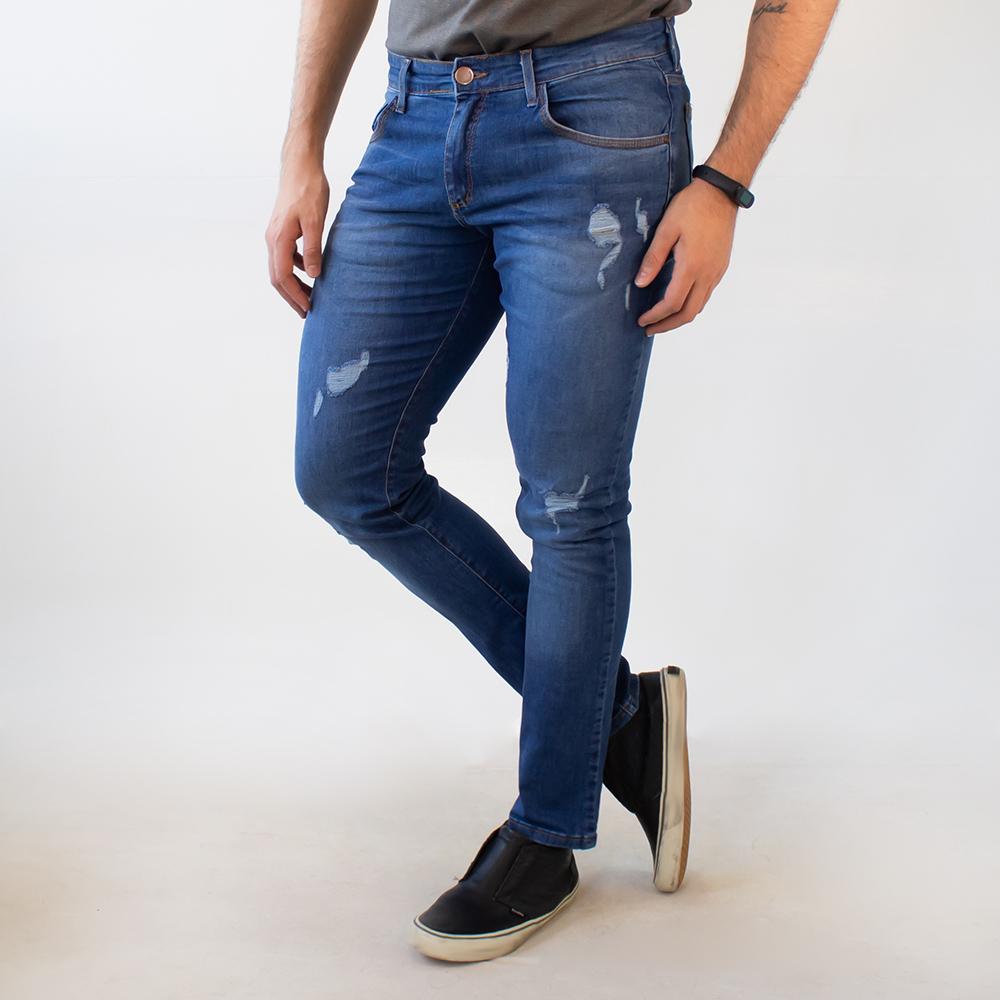 Calça Jeans Skinny Masculina Destroyed Anticorpus
