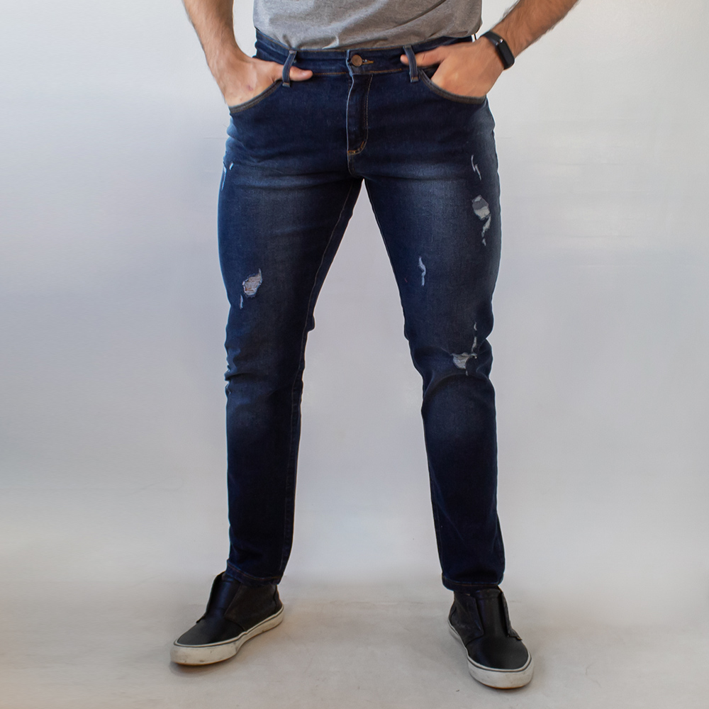 Calça Jeans Skinny Masculina Escura Destroyed Anticorpus