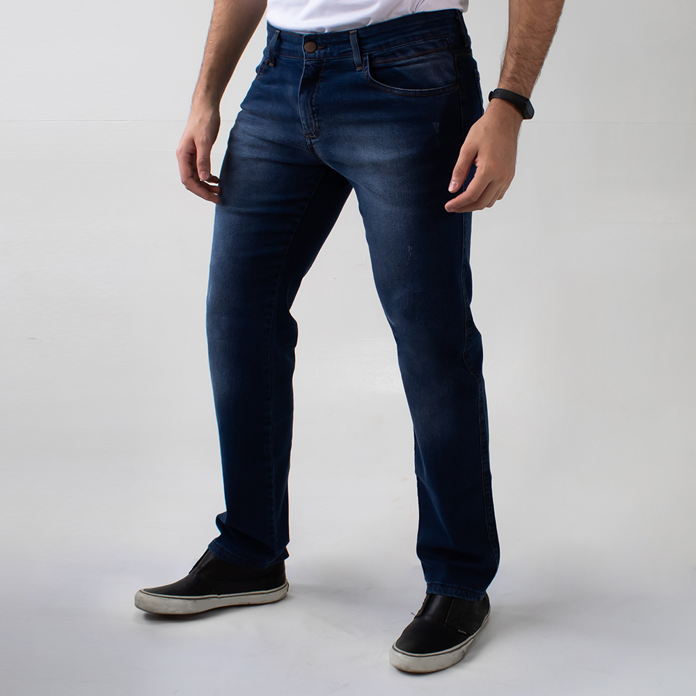 Calça Jeans Slim Masculina Escura Puídos Anticorpus