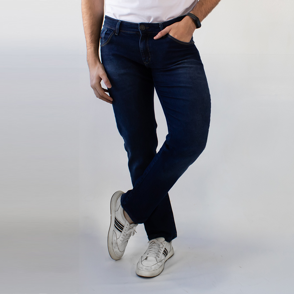 Calça Jeans Slim Tradicional Masculina Azul Escuro Anticorpus