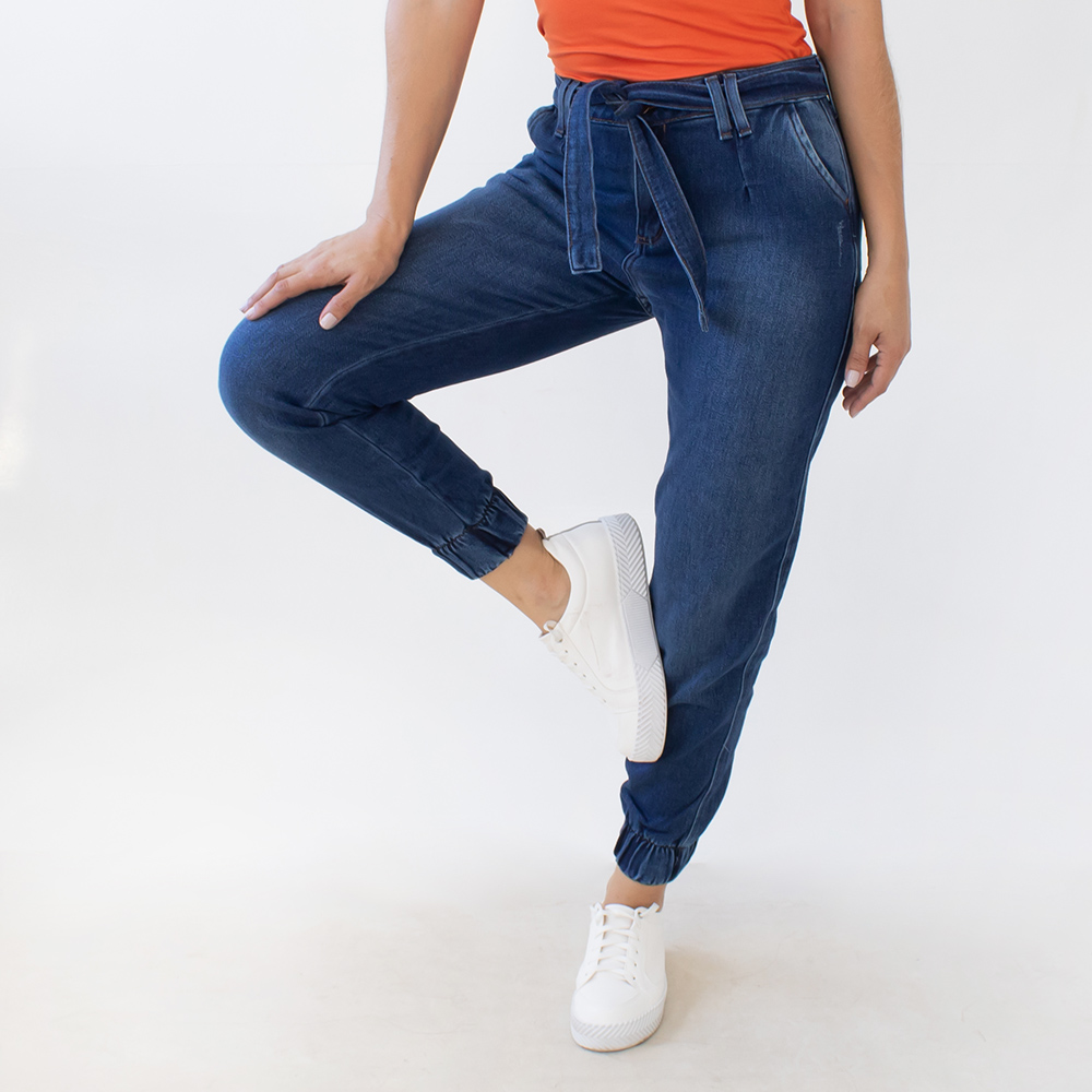 Calça Jogger Feminina Jeans Azul Escuro Cinto Anticorpus