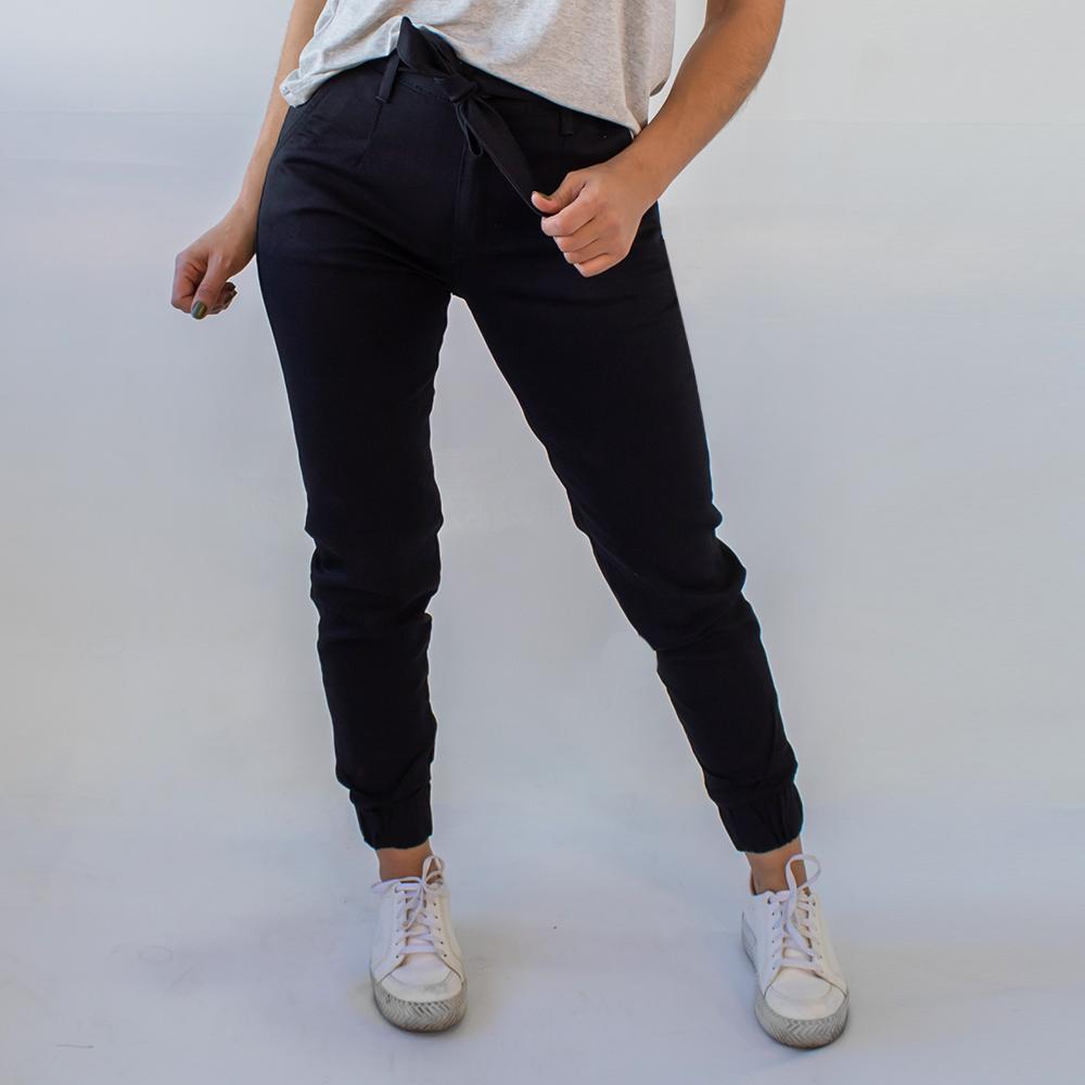 Calça Jogger Feminina Preta Sarja Cinto Elastano Anticorpus
