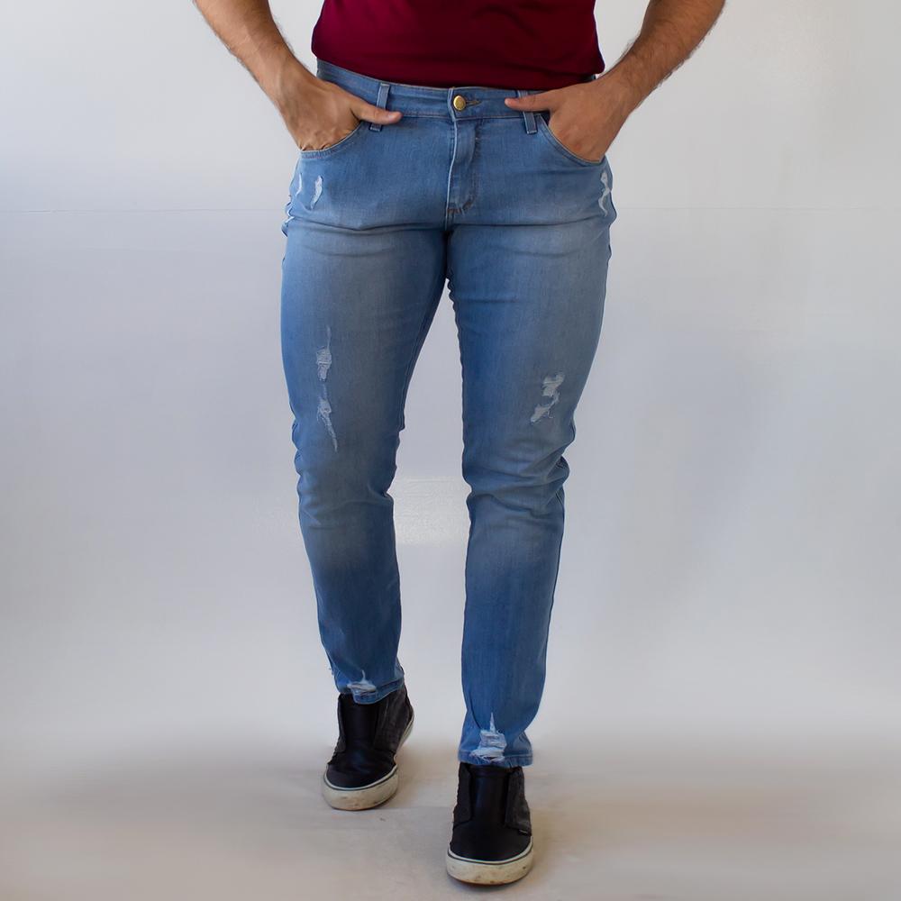 Calça Masculina Skinny Jeans Claro Puídos Anticorpus