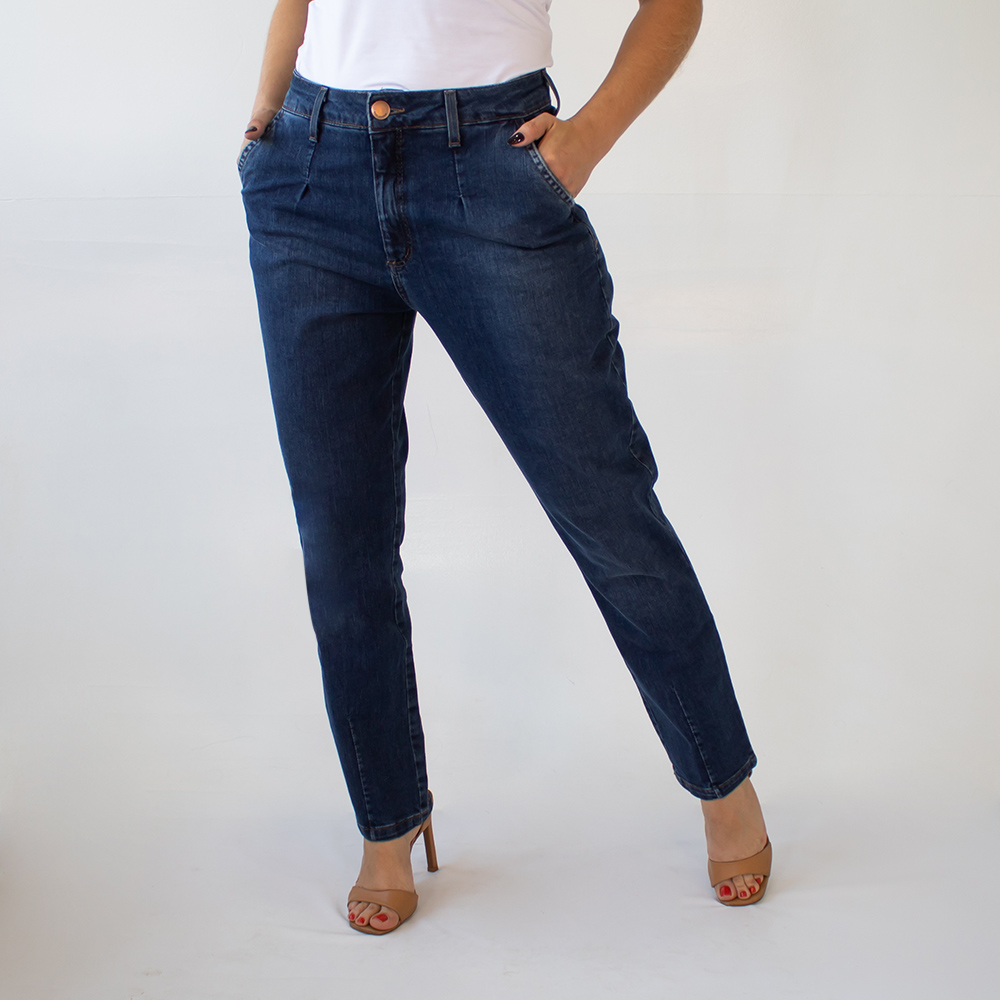 Calça Mom Jeans Escuro Feminina Cintura Alta Anticorpus