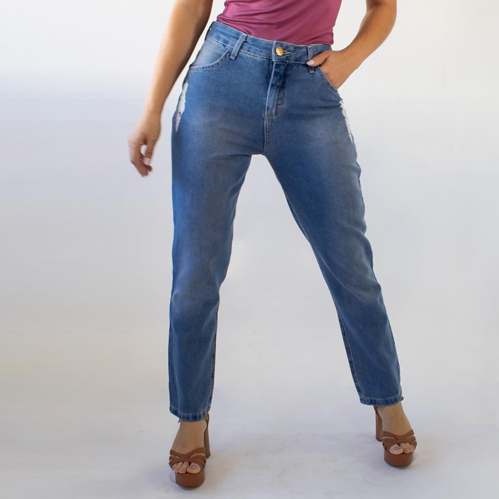 Calça Mom Jeans Feminina Algodão Alta Destroyed Anticorpus