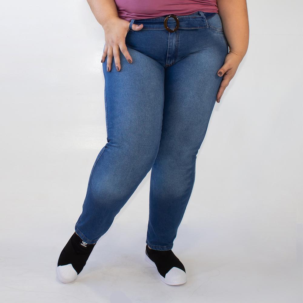 Calça Plus Size Feminina Cropped Jeans Cinto Média Anticorpus