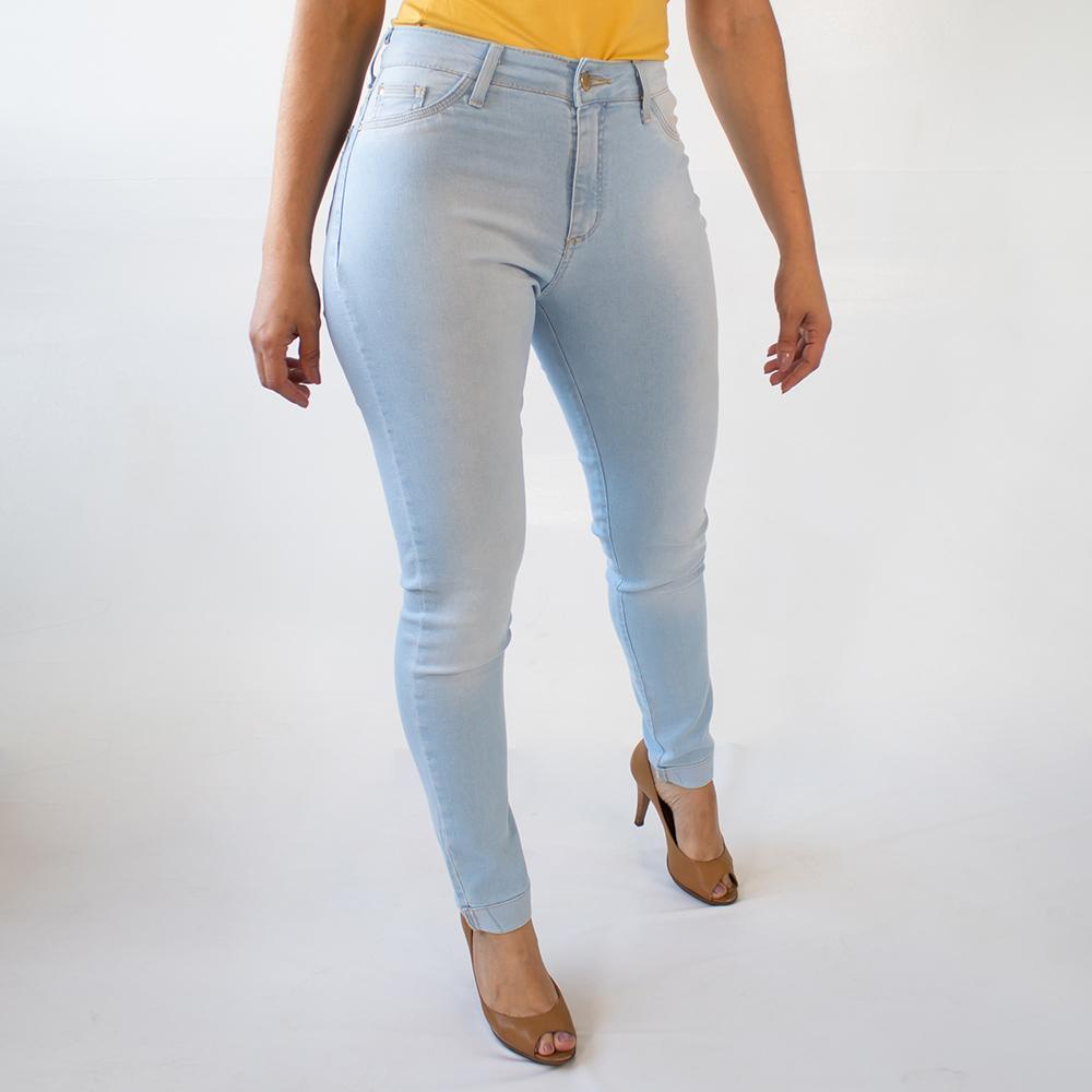 Calça Skinny Feminina Jeans Alta Barra Dobrada Anticorpus