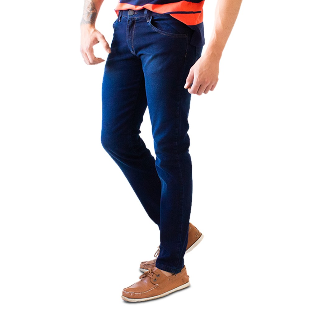 Calça Skinny Masculina Jeans Azul Escuro Básica Anticorpus