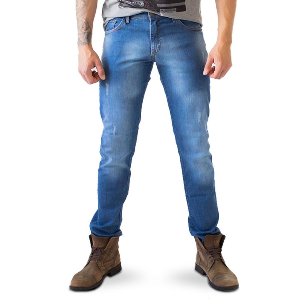Calça Skinny Masculina Jeans Puídos Básica Anticorpus