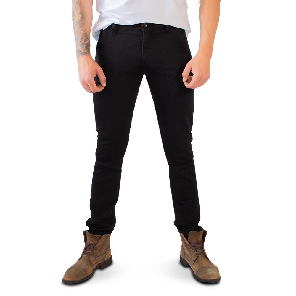 Calça Skinny Masculina Sarja Preto Básica Anticorpus