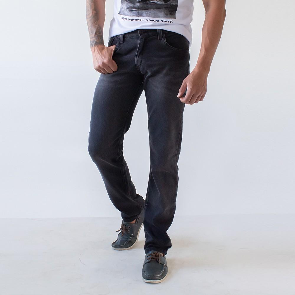 Calça Slim Jeans Masculina Preta Básica Anticorpus