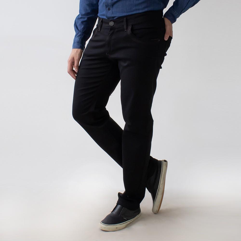 Calça Slim Masculina Sarja Preto Elastano Anticorpus