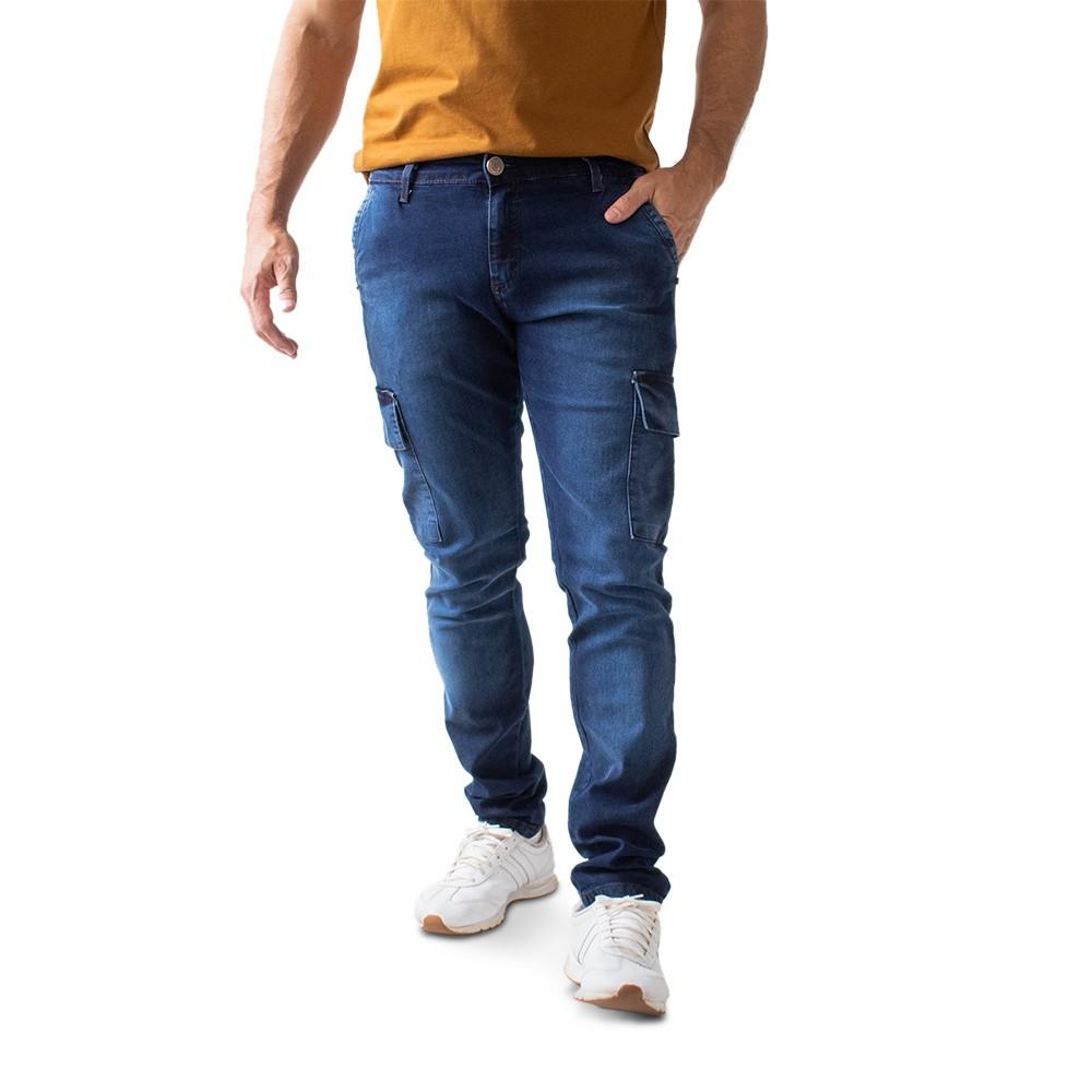 Calça Super Skinny Masculina Jeans Bolsos Cargo Anticorpus