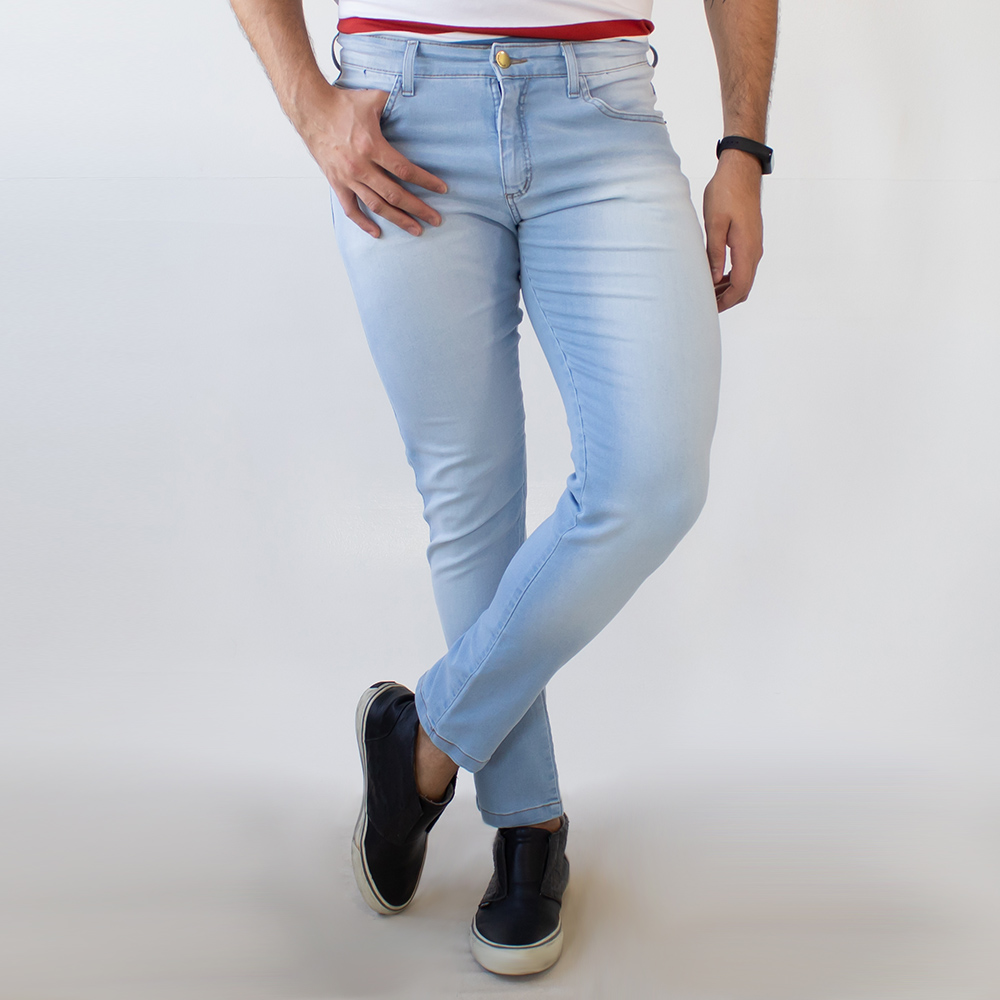 Calça Super Skinny Masculina Jeans Claro Elastano Anticorpus