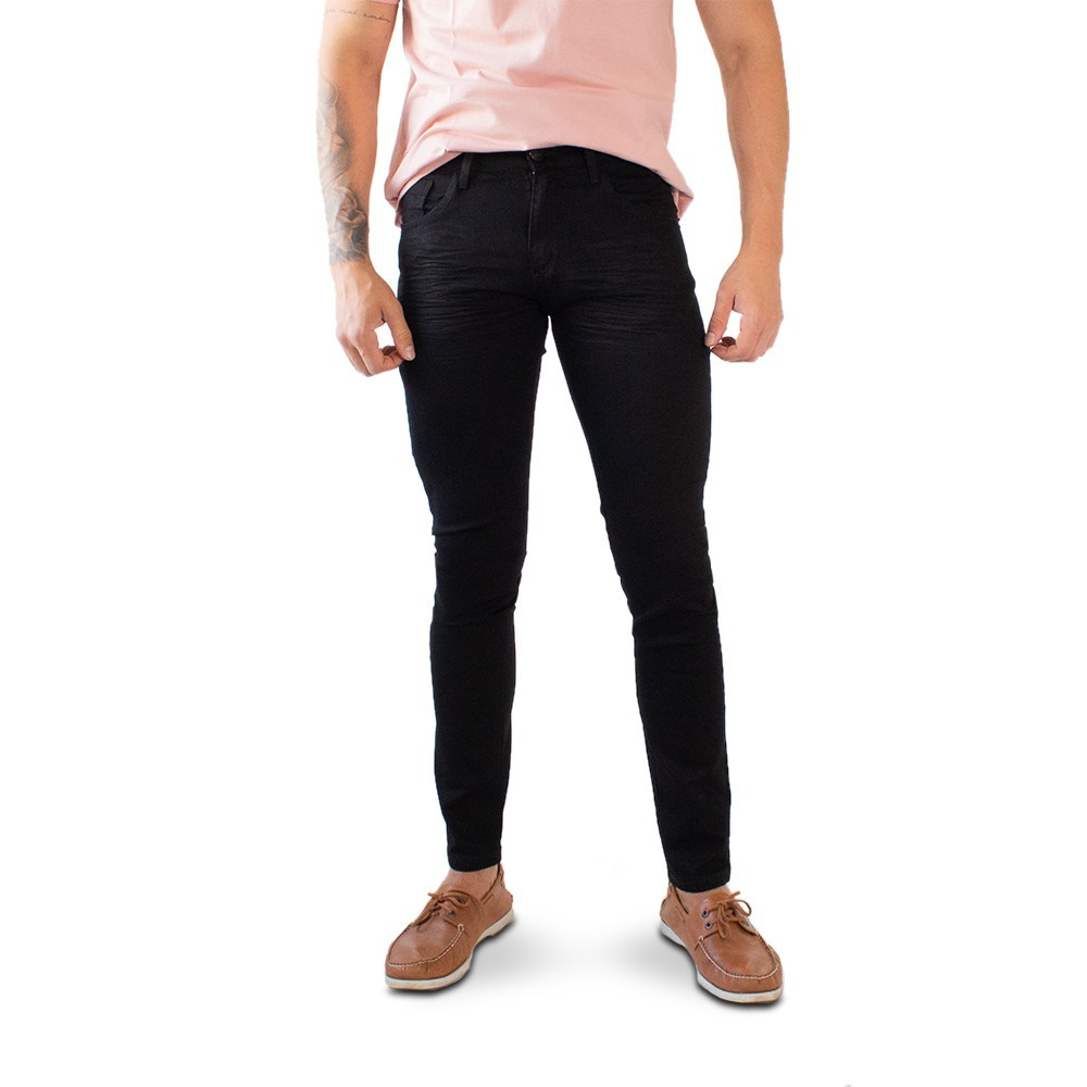 Calça Super Skinny Masculina Sarja Preto com Stretch Anticorpus
