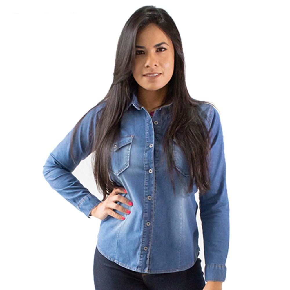 Camisa Jeans Feminina Básica Botões Manga Longa Anticorpus