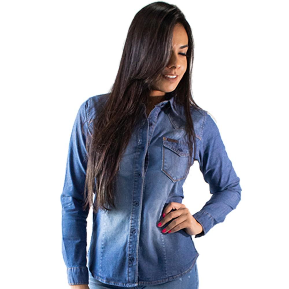 Camisa Jeans Feminina Manga Longa Botões Anticorpus