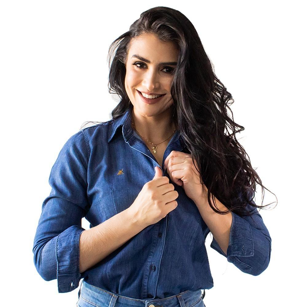 Camisa Jeans Feminina Manga Longa Escura Anticorpus