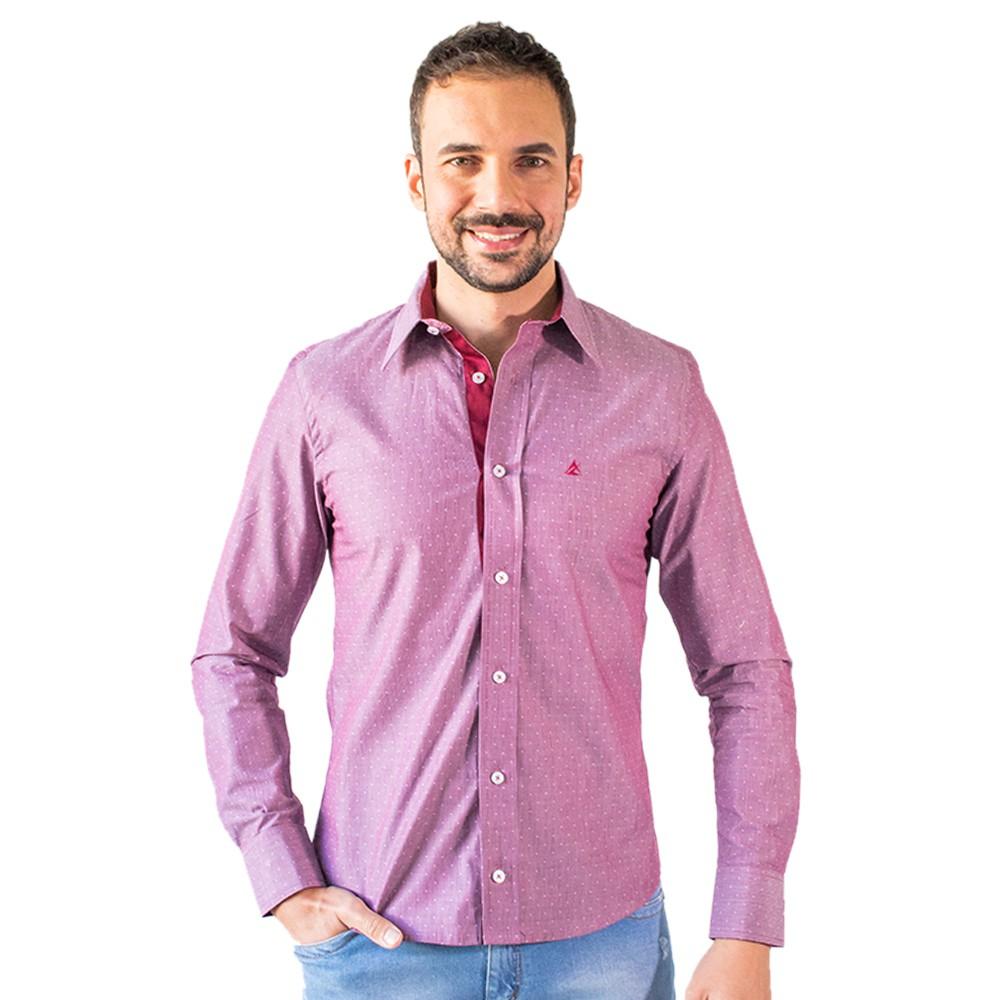 Camisa Masculina Social Vinho Manga Longa Algodão Anticorpus