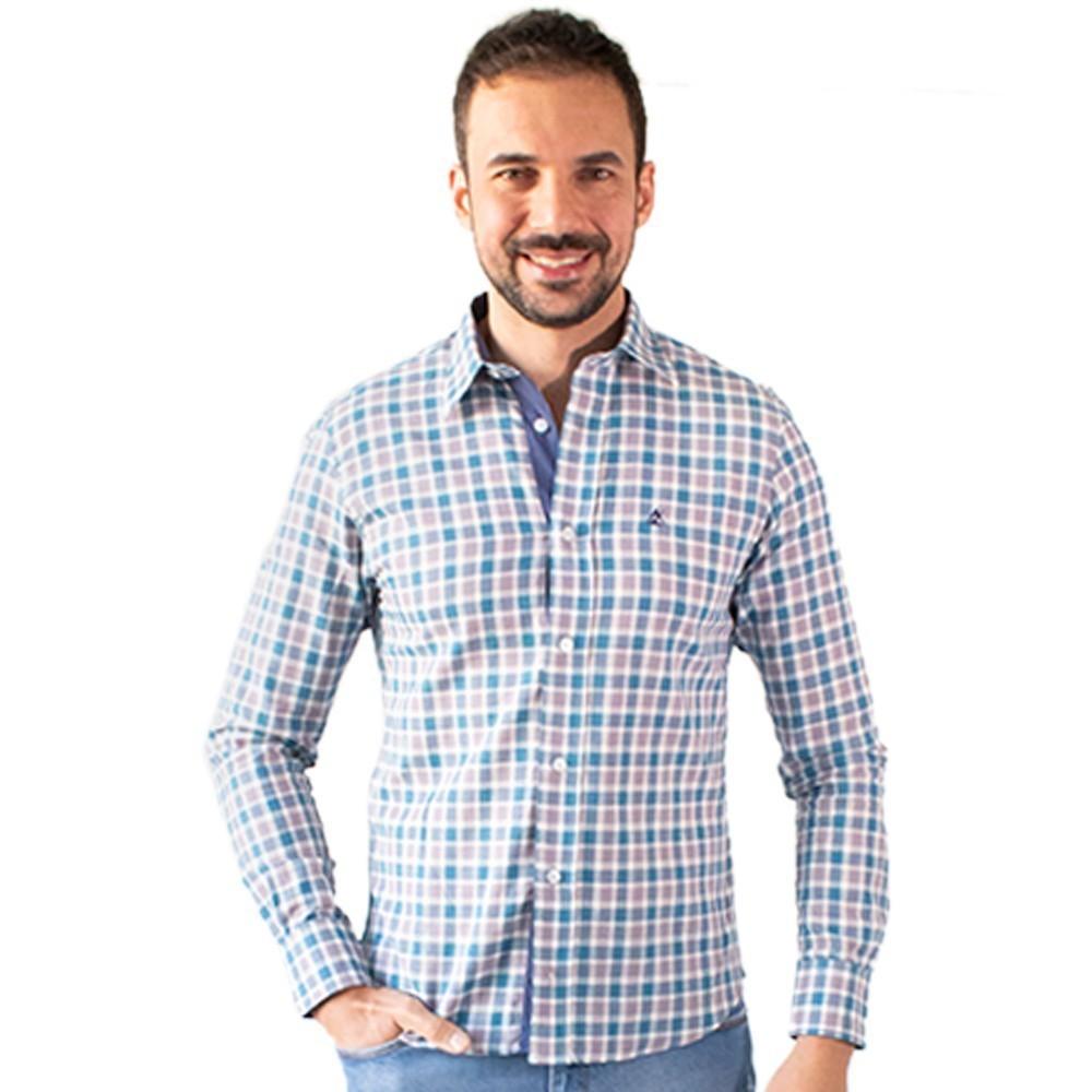 Camisa Masculina Social Xadrez Manga Longa Algodão Anticorpus