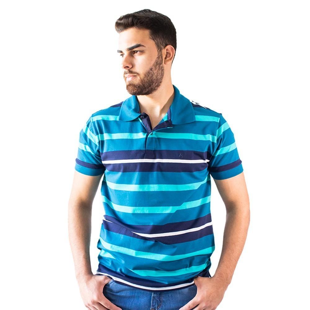 Camisa Polo Listrada Bege Coral Azul Algodão Elastano Anticorpus