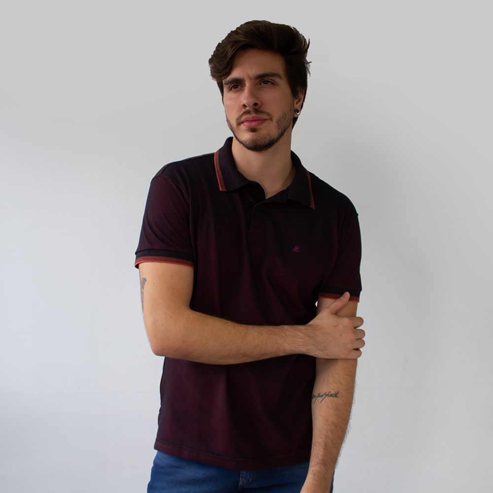 Camisa Polo Malha Piquet Madri Manga Punho Anticorpus