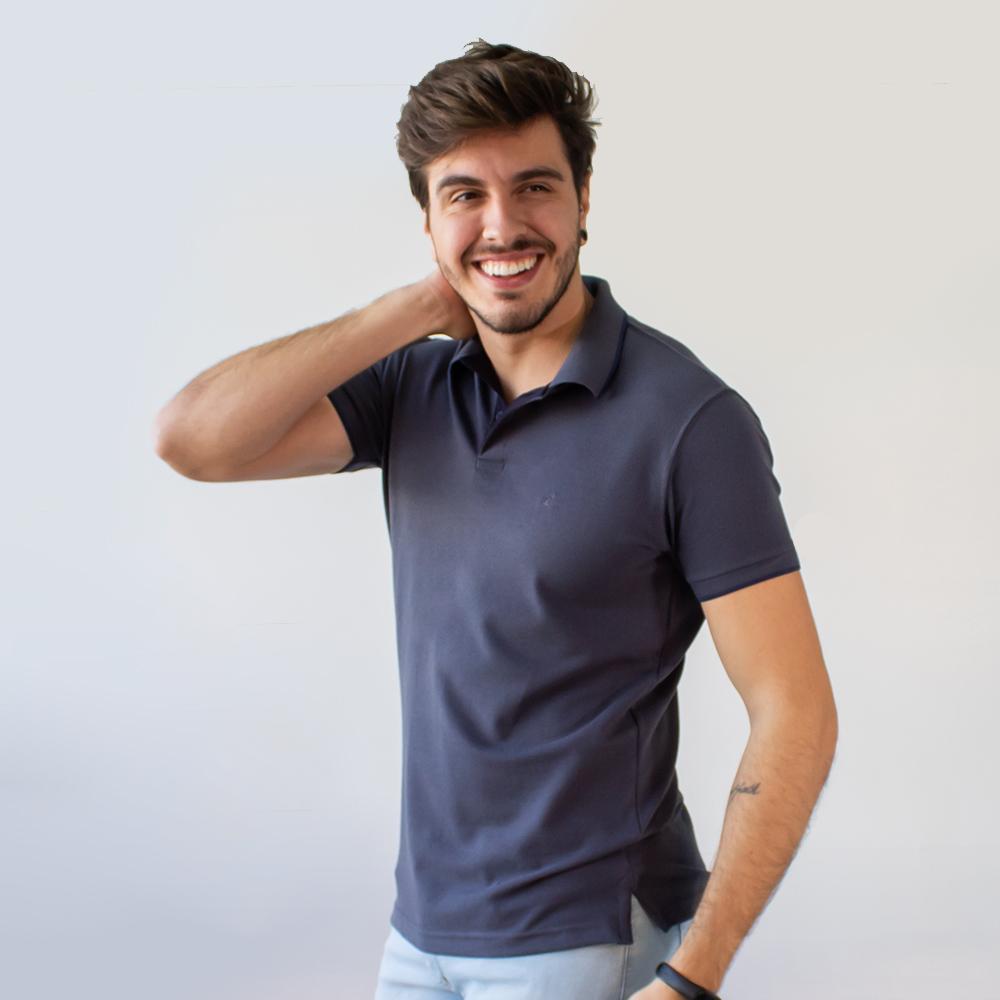 Camisa Polo Malha Piquet Manga Punho Várias Cores Anticorpus
