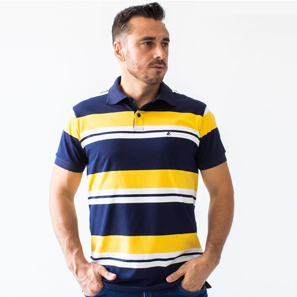 Camisa Polo Masculina Listrada Azul Várias Cores Anticorpus