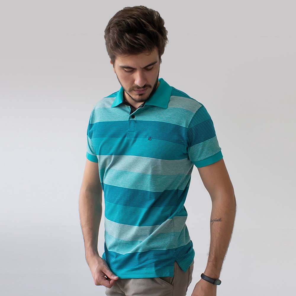 Camisa Polo Masculina Listrada Azul Verde Coral Anticorpus