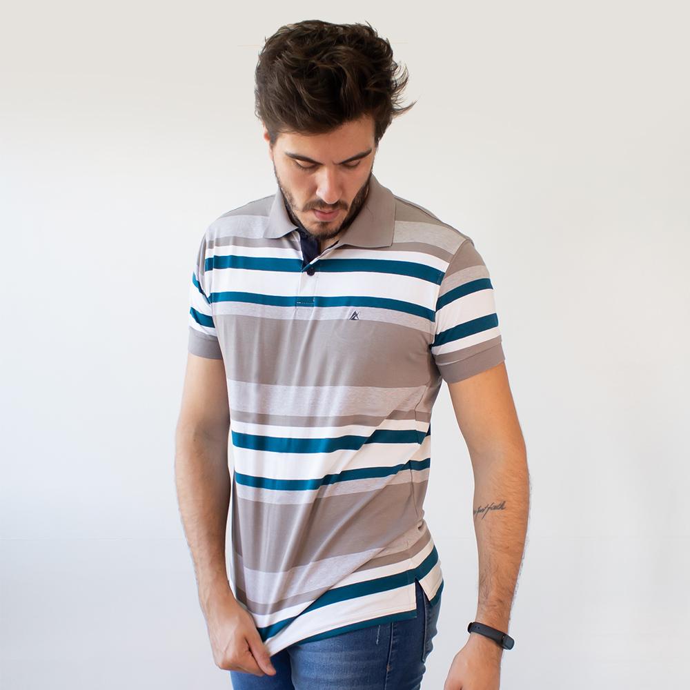 Camisa Polo Masculina Listrada Elastano Anticorpus