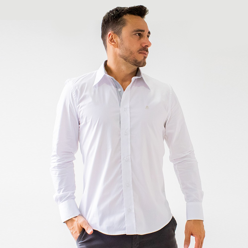 Camisa Social Masculina Estruturada Branca Manga Longa Anticorpus