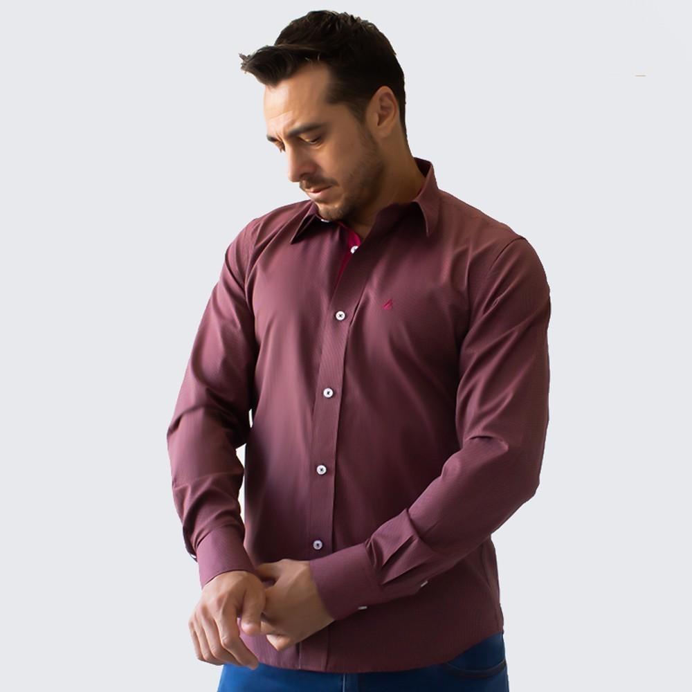 Camisa Social Masculina Estruturada Poá Manga Longa Anticorpus
