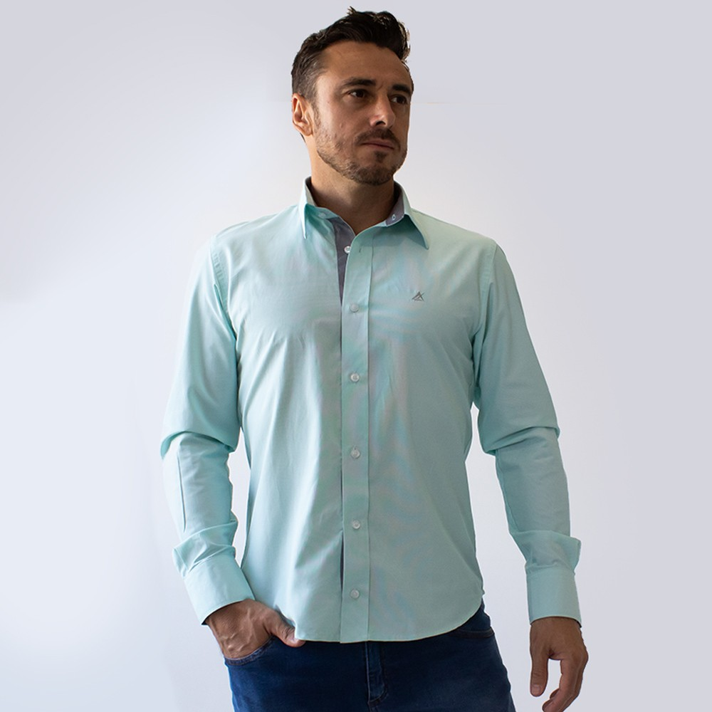 Camisa Social Masculina Estruturada Risca de Giz Anticorpus