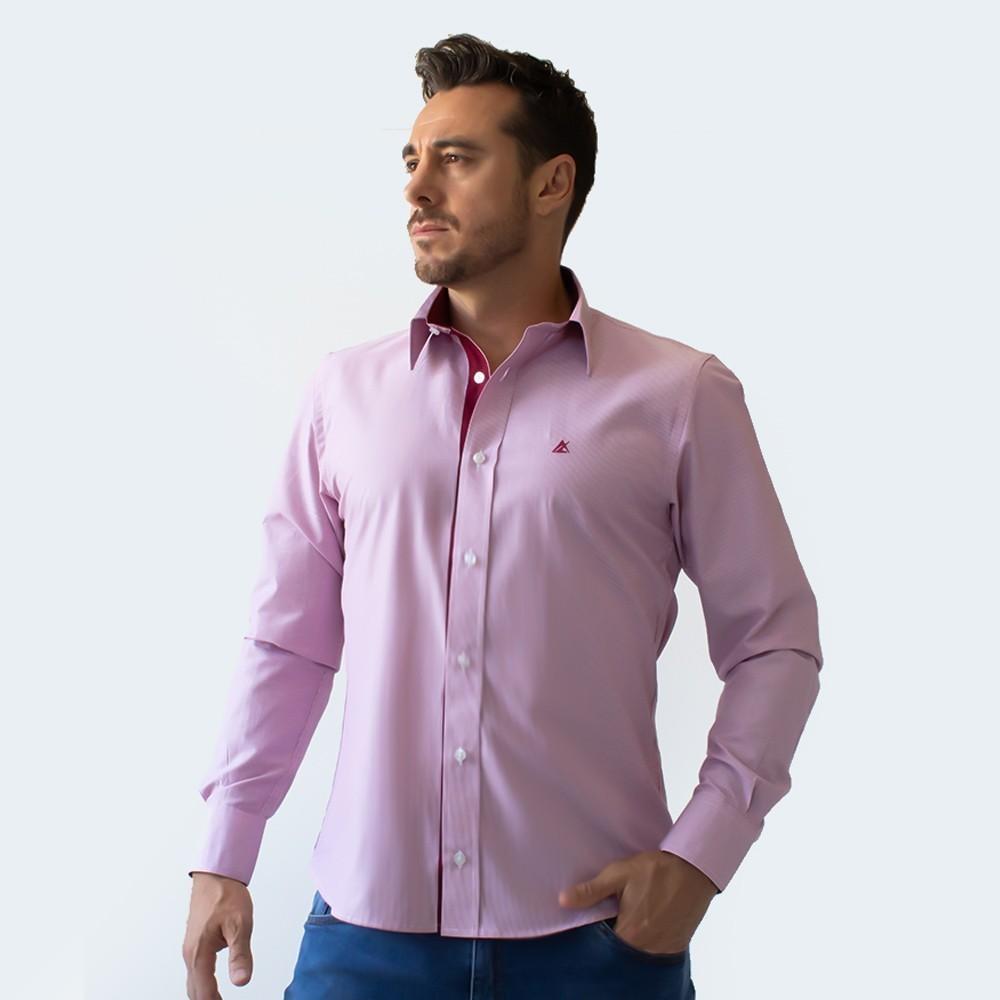 Camisa Social Masculina Estruturada Rosa Risca de Giz Anticorpus